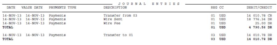 Отчет брокера - секция Journal Entries