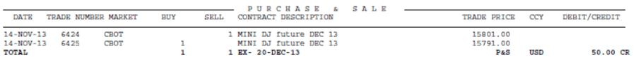 Отчет брокера - секция Purchase and Sale