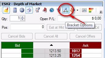 Включаем режим работы с Brackets: в биржевом стакане (DOM) надо нажать на соответствующую иконку