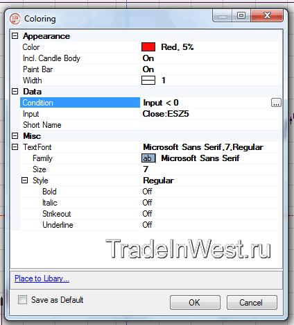 Настройки индикатора Coloring