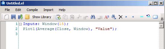 Окно редактирования индикатора на языке EasyLanguage