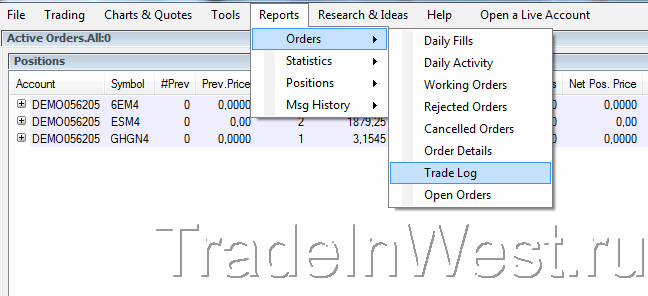 Отчет Trade Log, используемый для выгрузки в журнал сделок трейдера