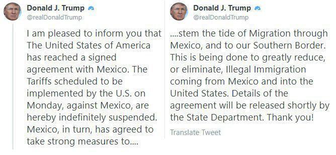 Вашингтон не будет вводить пошлины на мексиканские товары
